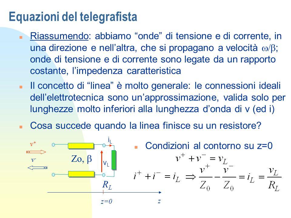 Equazioni del telegrafista Riassumendo: abbiamo onde di tensione e di corrente, in una direzione e nellaltra, che si propagano a velocità ; onde di te