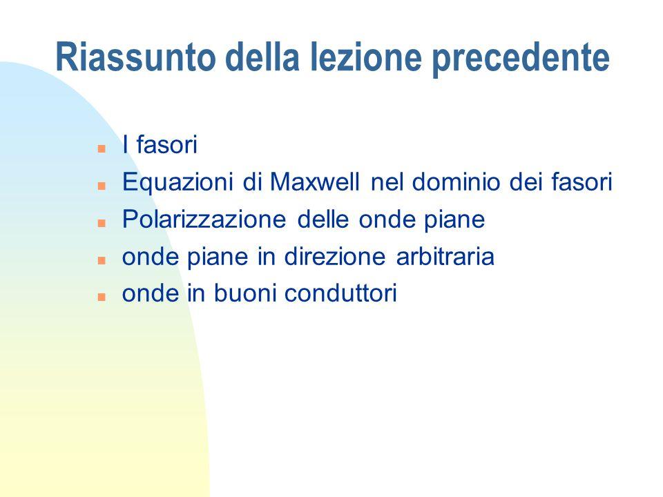 Riassunto della lezione precedente n I fasori n Equazioni di Maxwell nel dominio dei fasori n Polarizzazione delle onde piane n onde piane in direzion