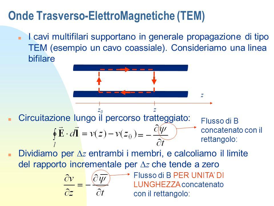 Onde Trasverso-ElettroMagnetiche (TEM) n I cavi multifilari supportano in generale propagazione di tipo TEM (esempio un cavo coassiale). Consideriamo