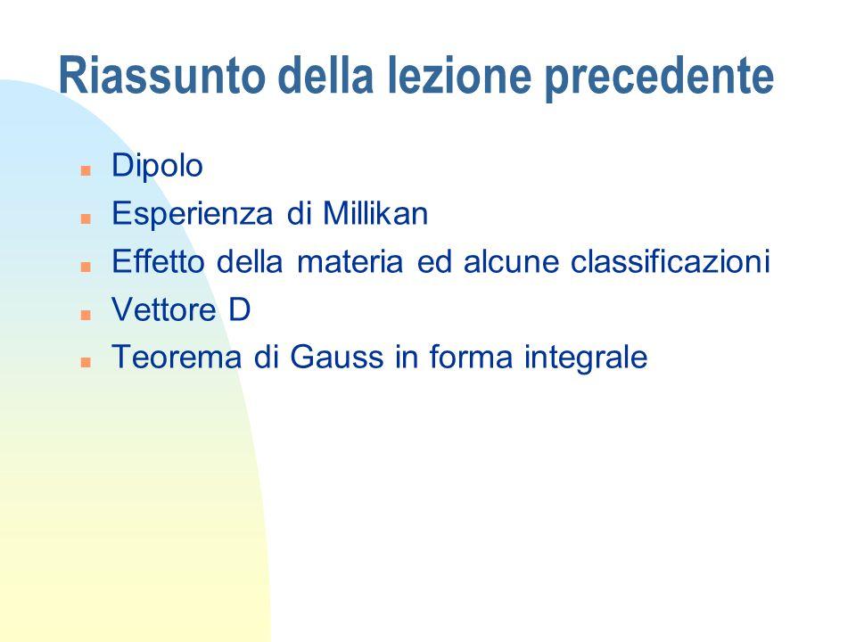 Riassunto della lezione precedente n Dipolo n Esperienza di Millikan n Effetto della materia ed alcune classificazioni n Vettore D n Teorema di Gauss