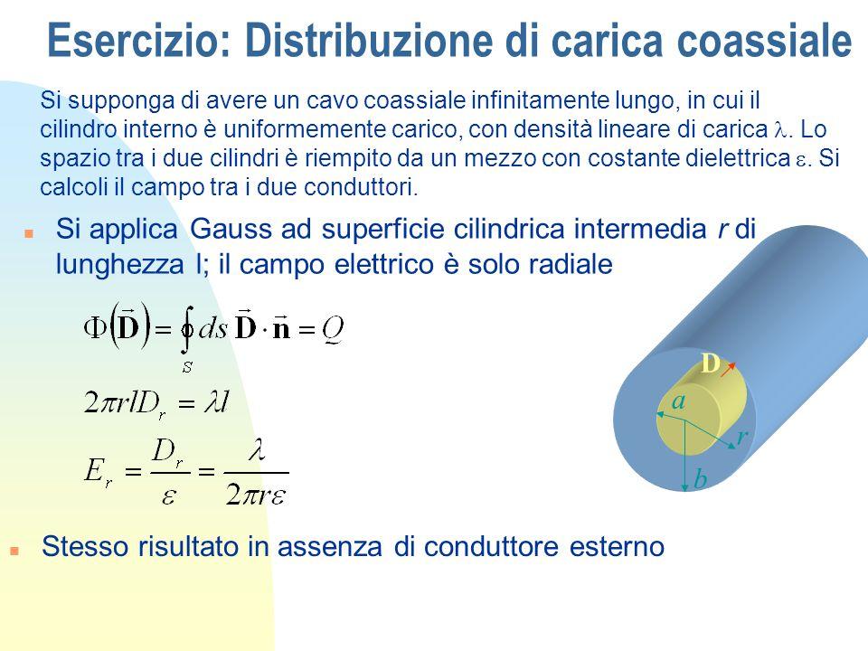 Esercizio: Elettrodi Sferici Elettrodi sferici separati da due strati di materiale dielettrico n Simmetrie radiale: campo radiale a b c 1 2 n Sfera interna: Q; sfera esterna -Q n Applichiamo il th.