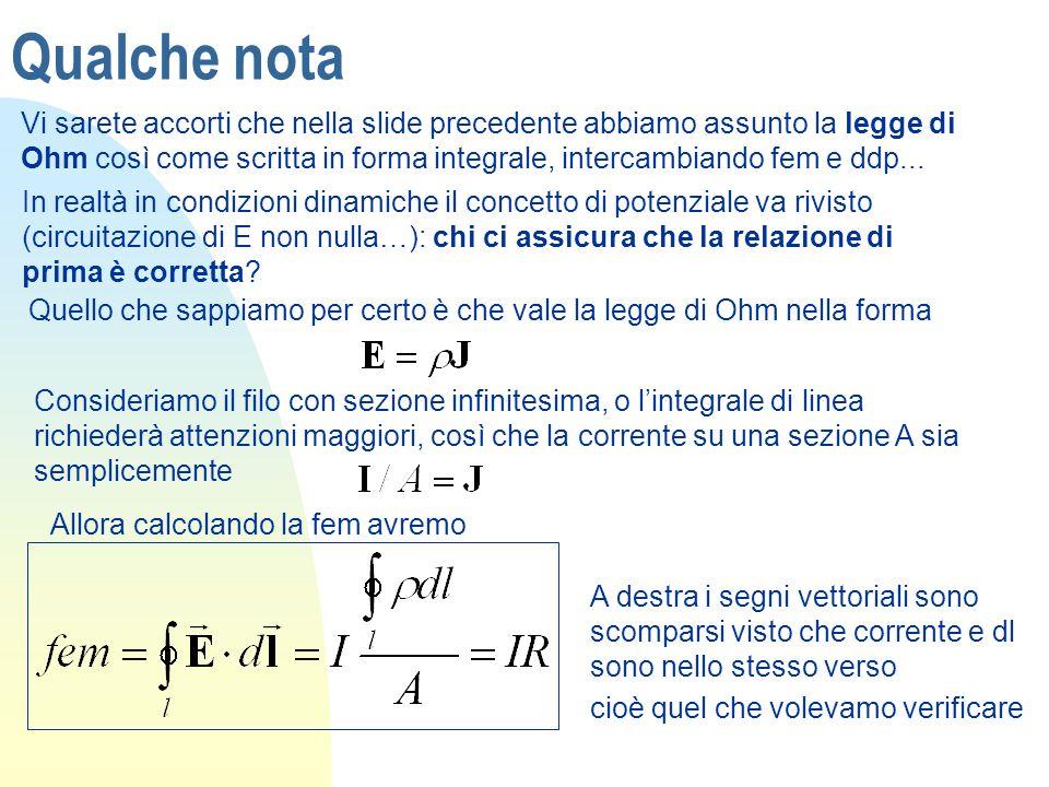 Qualche nota Vi sarete accorti che nella slide precedente abbiamo assunto la legge di Ohm così come scritta in forma integrale, intercambiando fem e d
