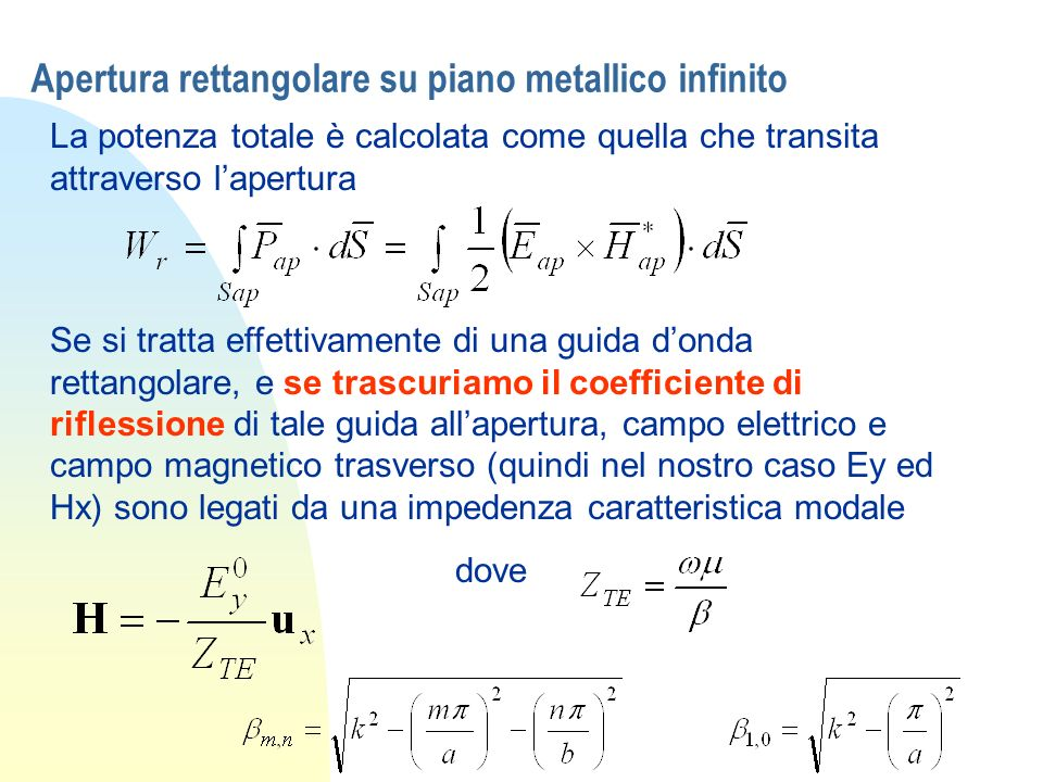 Apertura rettangolare su piano metallico infinito La potenza totale è calcolata come quella che transita attraverso lapertura Se si tratta effettivame