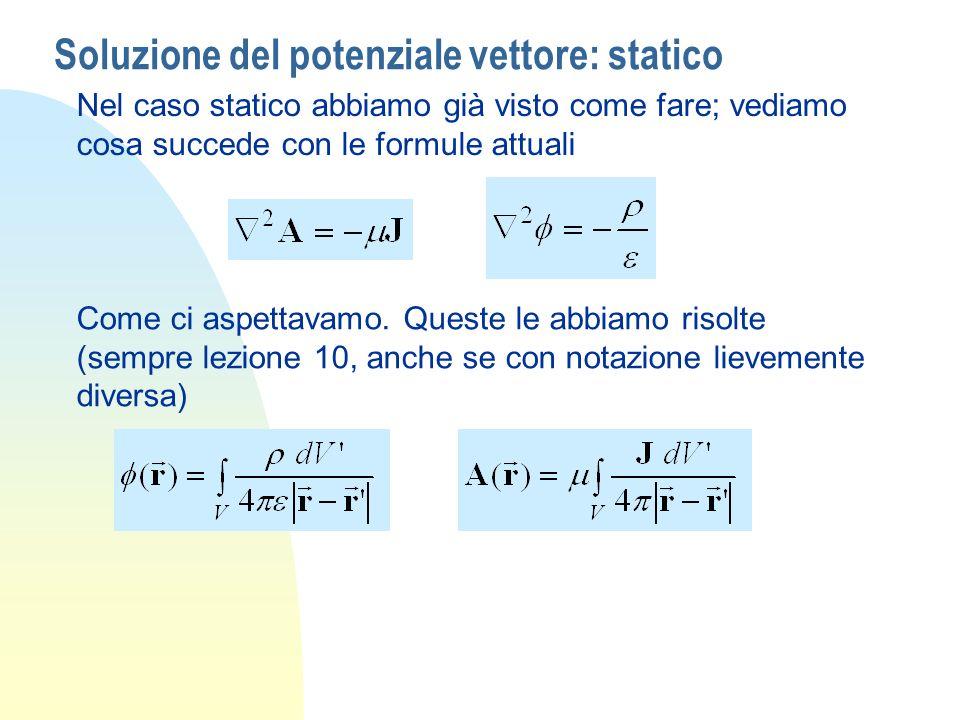 Soluzione del potenziale vettore: statico Nel caso statico abbiamo già visto come fare; vediamo cosa succede con le formule attuali Come ci aspettavam