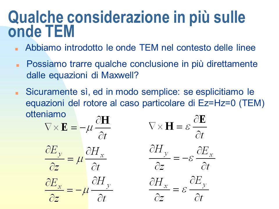 Qualche considerazione in più sulle onde TEM n E da queste, derivando rispetto a z lequazione in Ex in z e lespressione con Hy nel tempo, si riottiene lequazione donda monodimensionale in Ex n Analoga a quella che incontrammo per le onde piane, come potevamo aspettarci, e che descrive unonda che si propaga con velocità di fase pari a quella della luce nel mezzo considerato, cioè In termini di costante di propagazione quindi, come abbiamo già visto nella lezione 16, essa è la stessa della luce o di unonda piana: k