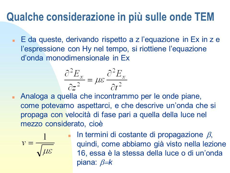 Equazione donda per strutture guidanti n Più in generale, avevamo scritto nel dominio dei fasori lequazione donda (o di Helmholtz) [lezione 14] n Ci chiediamo a questo punto che caratteristiche possano avere alcune particolari soluzioni, che abbiano dipendenza da una coordinata, diciamo z, del tipo che abbiamo incontrato nellequazione dei telegrafisti, cioè Che sappiamo descrivere unonda che si propaga in z con costante di propagazione.