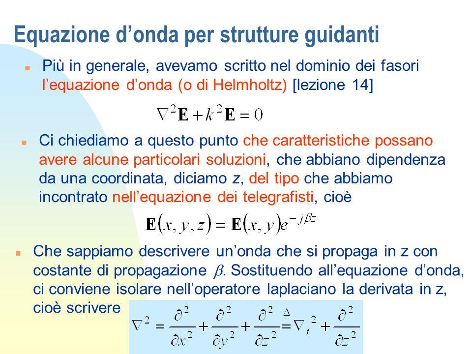 Equazione donda per strutture guidanti n Il primo termine, che opera solo sulle coordinate x,y, trasversali rispetto alla direzione di propagazione z, lo chiamiamo brevemente laplaciano trasverso Daltro canto la doppia derivazione in z, con la dipendenza esponenziale che abbiamo assunto, diventa solo una moltiplicazione per - 2 (meraviglie degli esponenziali!) n Lequazione donda diventa in tal caso n Che definiremo equazione donda per onde guidate, dove introducendo il termine onda guidata intendiamo ricordare che cè una direzione privilegiata (in questo caso z) rispetto alla quale avviene la propagazione.