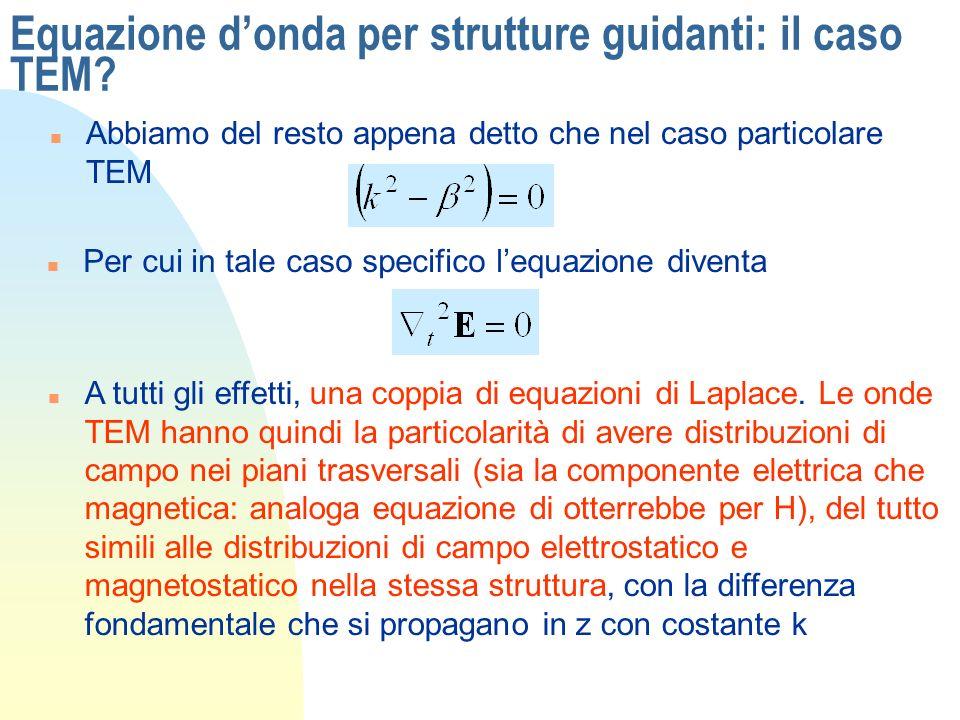 Equazione donda per strutture guidanti: il caso TEM? n Abbiamo del resto appena detto che nel caso particolare TEM n Per cui in tale caso specifico le
