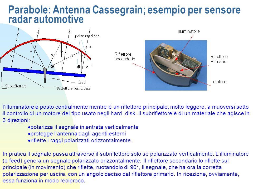 Parabole: Antenna Cassegrain; esempio per sensore radar automotive lilluminatore è posto centralmente mentre è un riflettore principale, molto leggero