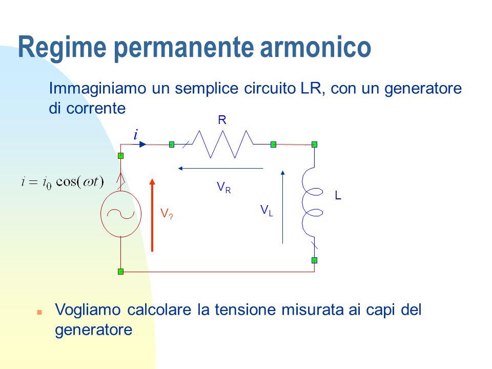 Regime permanente armonico Immaginiamo un semplice circuito LR, con un generatore di corrente n Vogliamo calcolare la tensione misurata ai capi del ge