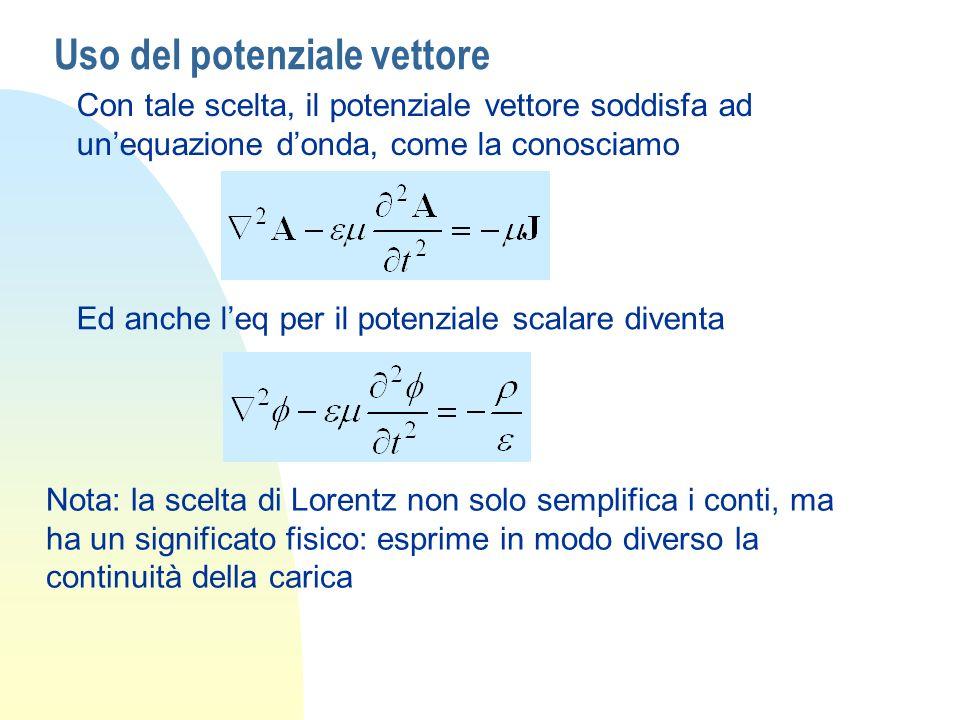 Uso del potenziale vettore Con tale scelta, il potenziale vettore soddisfa ad unequazione donda, come la conosciamo Ed anche leq per il potenziale sca