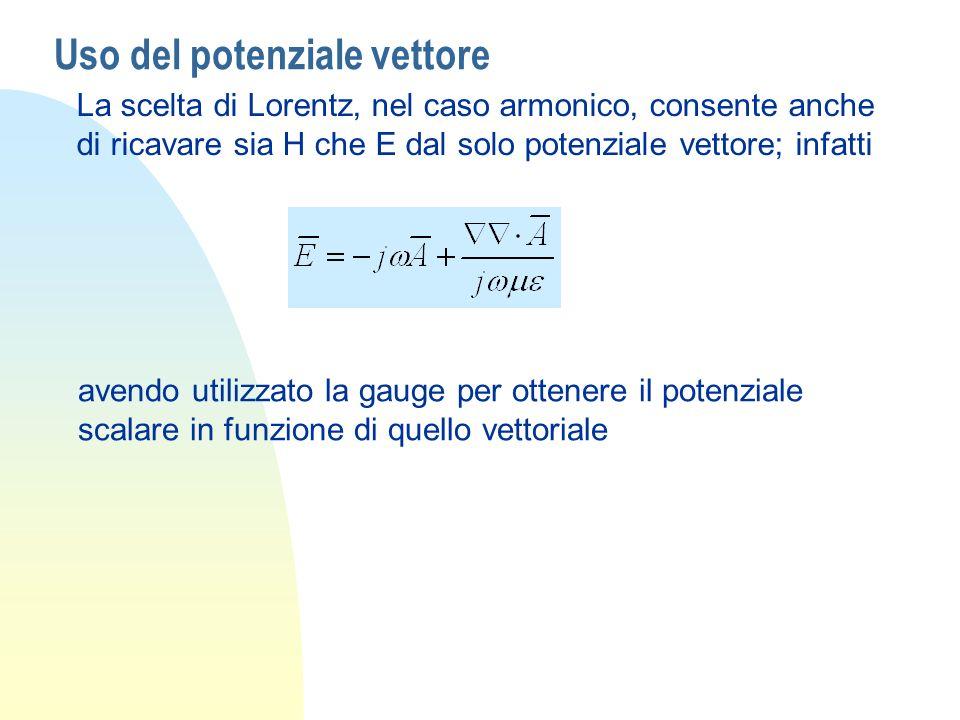 Uso del potenziale vettore La scelta di Lorentz, nel caso armonico, consente anche di ricavare sia H che E dal solo potenziale vettore; infatti avendo