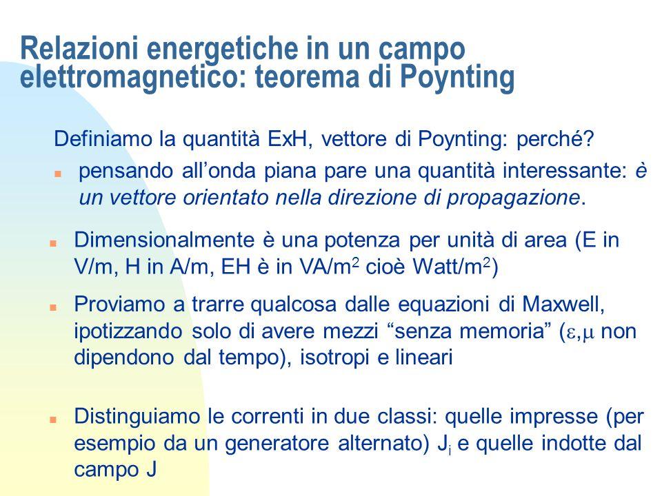 Relazioni energetiche in un campo elettromagnetico: teorema di Poynting Le equazioni del rotore sono in questo caso Calcoliamo la divergenza del vettore di Poynting...Abbiamo usato unaltra identità Sostituiamo a secondo membro le eq di Maxwell