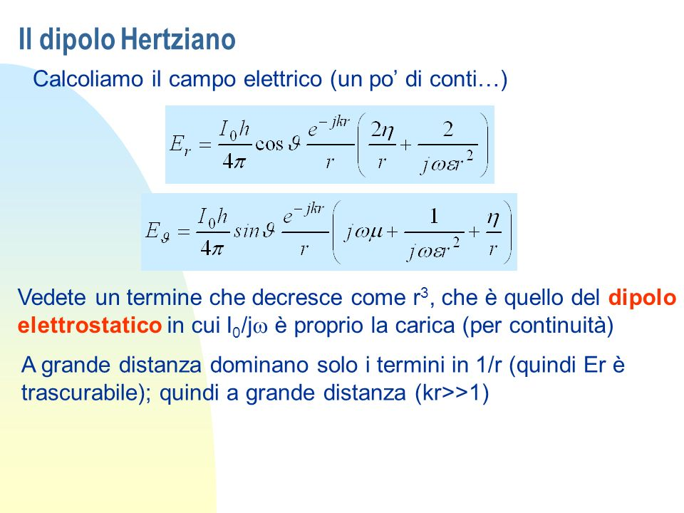 Il dipolo Hertziano Calcoliamo il campo elettrico (un po di conti…) Vedete un termine che decresce come r 3, che è quello del dipolo elettrostatico in