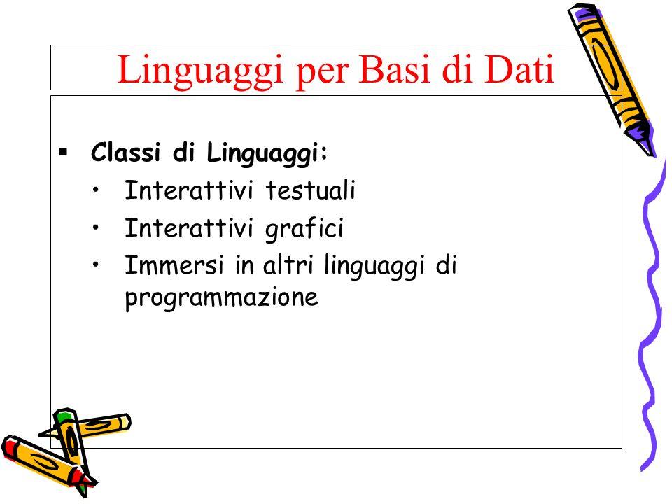 Linguaggi per Basi di Dati Classi di Linguaggi: Interattivi testuali Interattivi grafici Immersi in altri linguaggi di programmazione