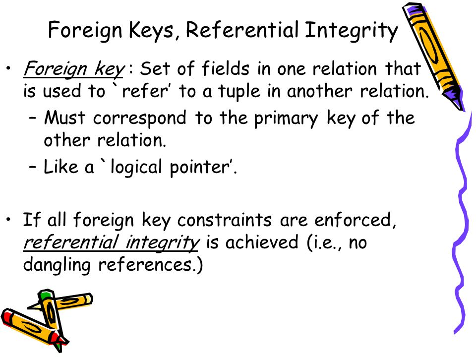 Foreign Keys, Referential Integrity Foreign key : Set of fields in one relation that is used to `refer to a tuple in another relation. –Must correspon