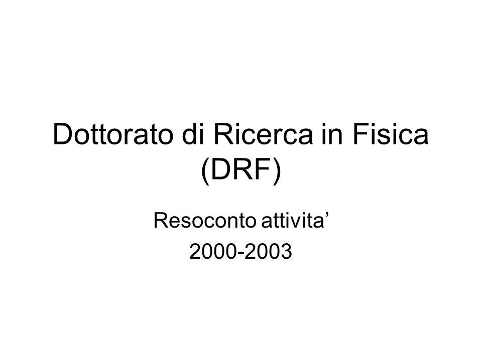 Dottorato di Ricerca in Fisica (DRF) Resoconto attivita 2000-2003