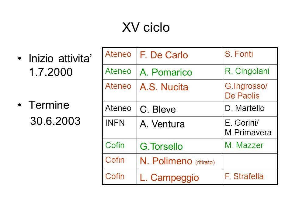 XV ciclo Inizio attivita 1.7.2000 Termine 30.6.2003 Ateneo F. De Carlo S. Fonti Ateneo A. Pomarico R. Cingolani Ateneo A.S. Nucita G.Ingrosso/ De Paol