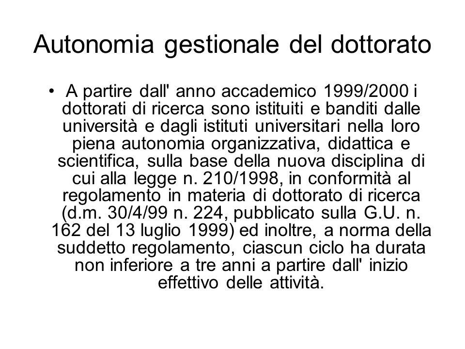 Autonomia gestionale del dottorato A partire dall' anno accademico 1999/2000 i dottorati di ricerca sono istituiti e banditi dalle università e dagli