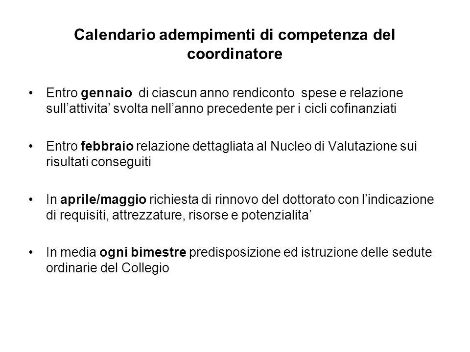 Calendario adempimenti di competenza del coordinatore Entro gennaio di ciascun anno rendiconto spese e relazione sullattivita svolta nellanno preceden