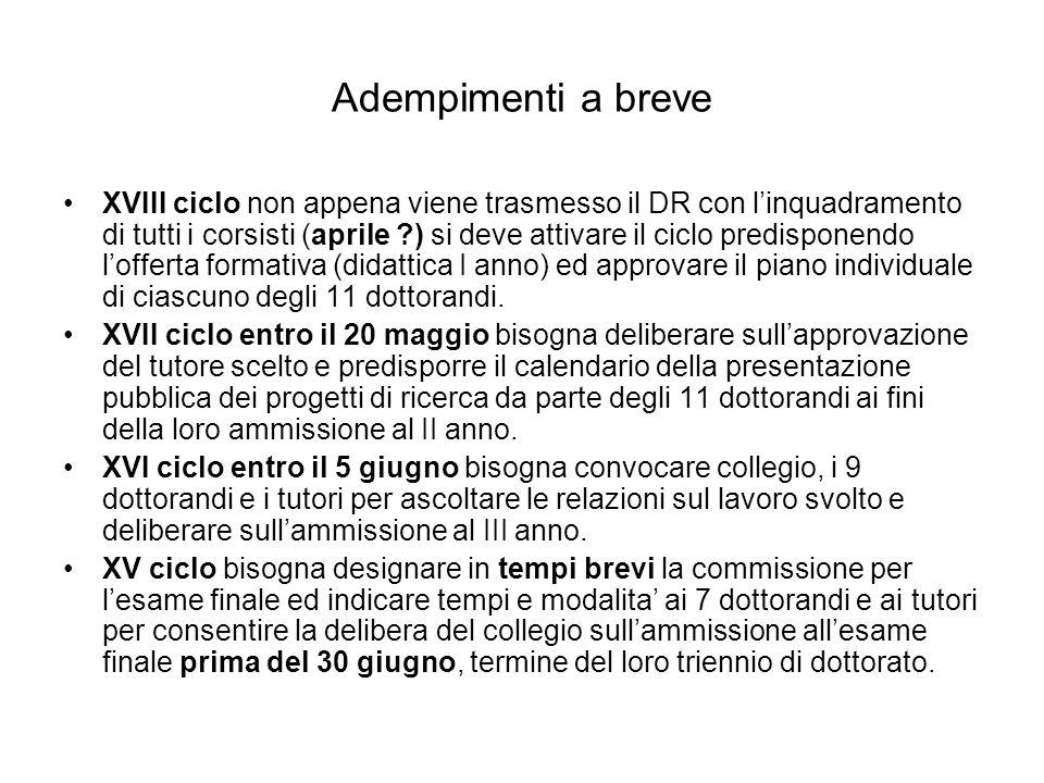 Adempimenti a breve XVIII ciclo non appena viene trasmesso il DR con linquadramento di tutti i corsisti (aprile ?) si deve attivare il ciclo predispon
