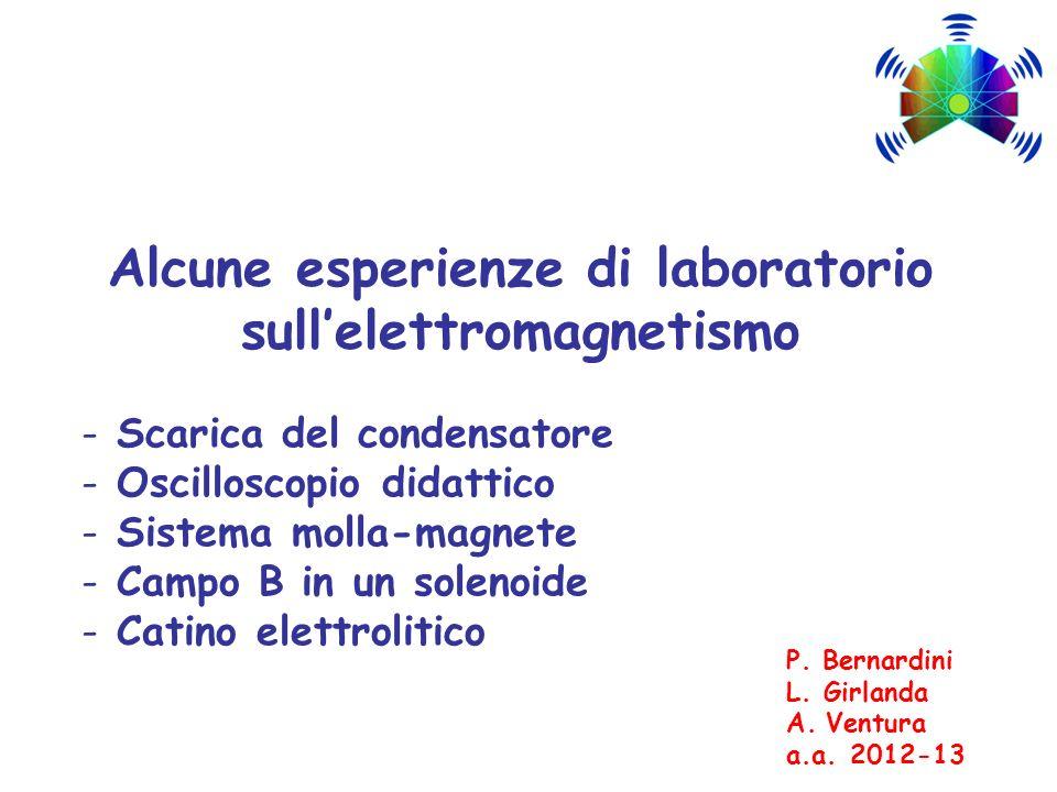 Alcune esperienze di laboratorio sullelettromagnetismo - Scarica del condensatore - Oscilloscopio didattico - Sistema molla-magnete - Campo B in un so