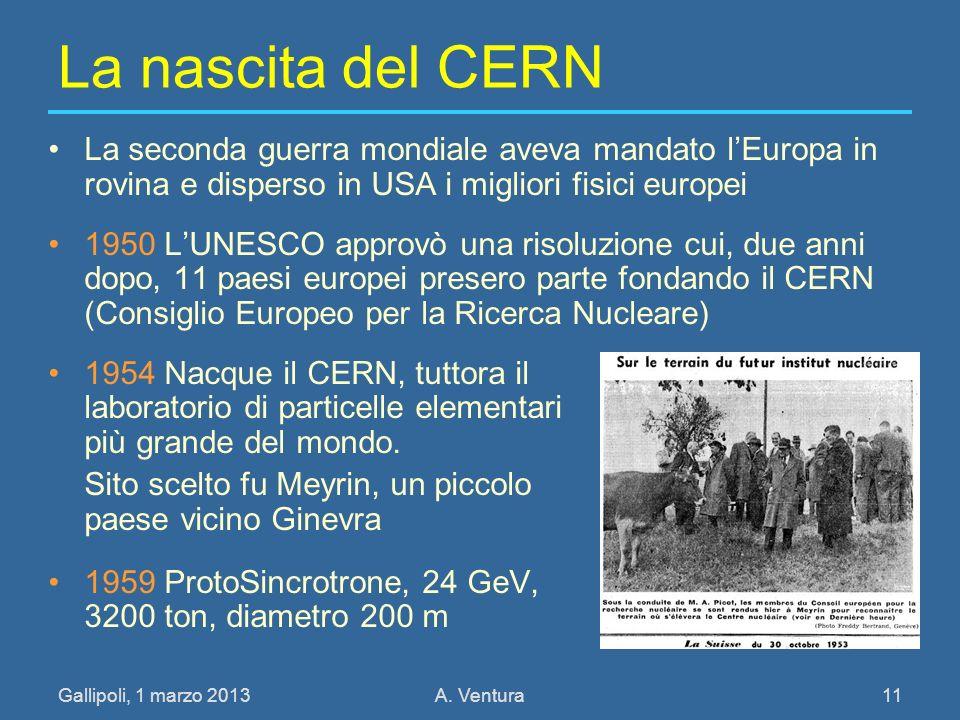Gallipoli, 1 marzo 2013A. Ventura 11 La nascita del CERN La seconda guerra mondiale aveva mandato lEuropa in rovina e disperso in USA i migliori fisic