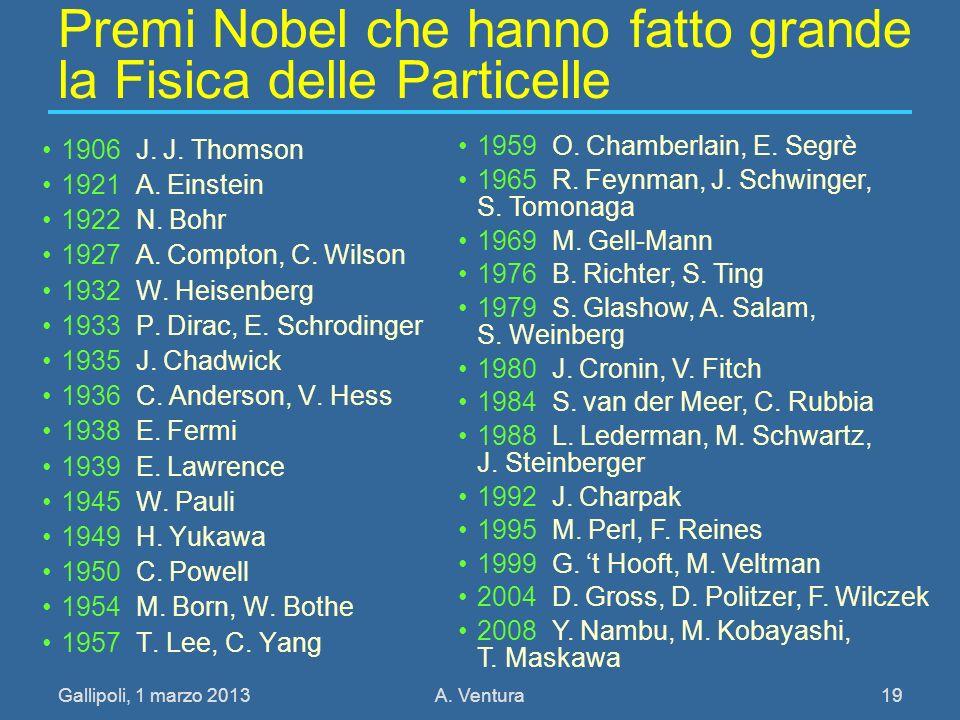 Gallipoli, 1 marzo 2013A. Ventura 19 Premi Nobel che hanno fatto grande la Fisica delle Particelle 1906 J. J. Thomson 1921 A. Einstein 1922 N. Bohr 19