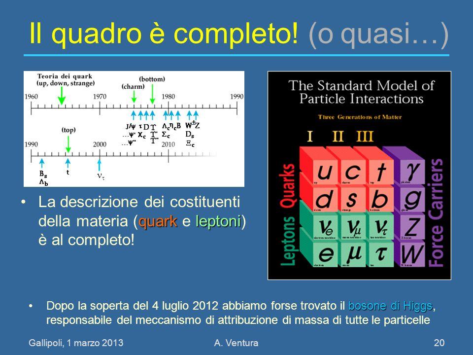 Gallipoli, 1 marzo 2013A. Ventura 20 Il quadro è completo! (o quasi…) quarkleptoniLa descrizione dei costituenti della materia (quark e leptoni) è al