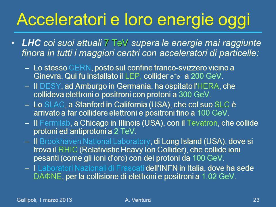 Gallipoli, 1 marzo 2013A. Ventura 23 Acceleratori e loro energie oggi 7 TeVLHC coi suoi attuali 7 TeV supera le energie mai raggiunte finora in tutti
