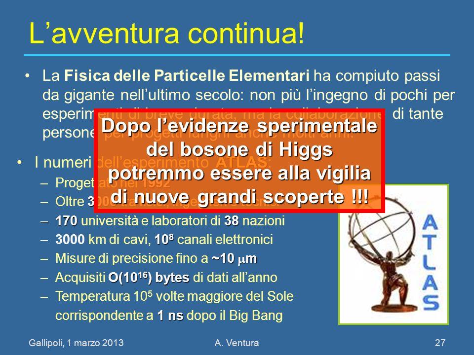 Gallipoli, 1 marzo 2013A. Ventura 27 Lavventura continua! La Fisica delle Particelle Elementari ha compiuto passi da gigante nellultimo secolo: non pi