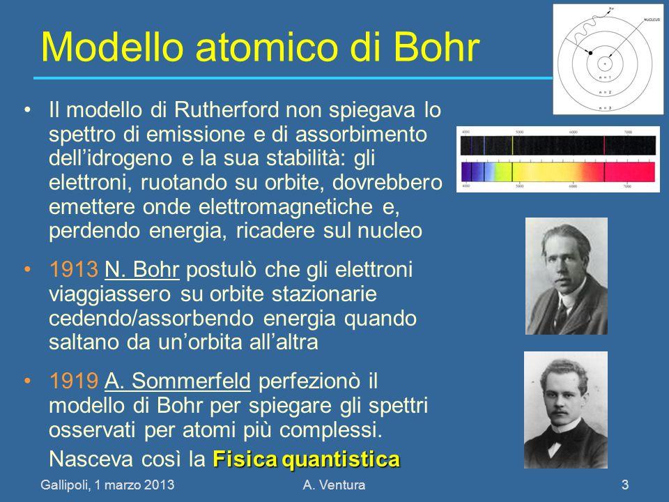 Gallipoli, 1 marzo 2013A. Ventura 3 Modello atomico di Bohr Il modello di Rutherford non spiegava lo spettro di emissione e di assorbimento dellidroge