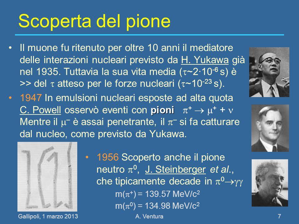 Gallipoli, 1 marzo 2013A. Ventura 7 Scoperta del pione Il muone fu ritenuto per oltre 10 anni il mediatore delle interazioni nucleari previsto da H. Y