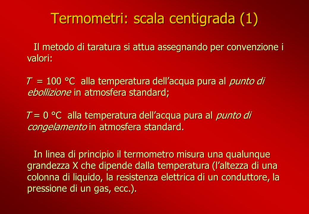 Termometri: scala centigrada (1) Il metodo di taratura si attua assegnando per convenzione i valori: Il metodo di taratura si attua assegnando per con