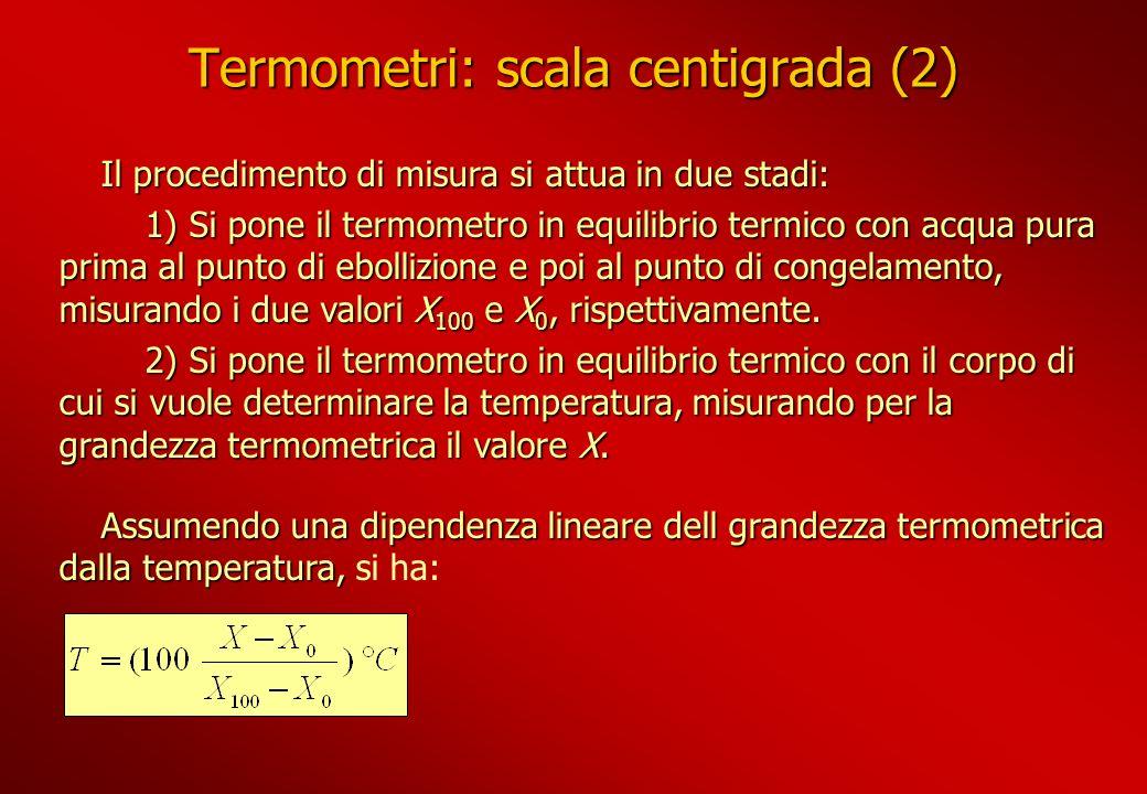 Termometri: scala centigrada (2) Il procedimento di misura si attua in due stadi: 1) Si pone il termometro in equilibrio termico con acqua pura prima