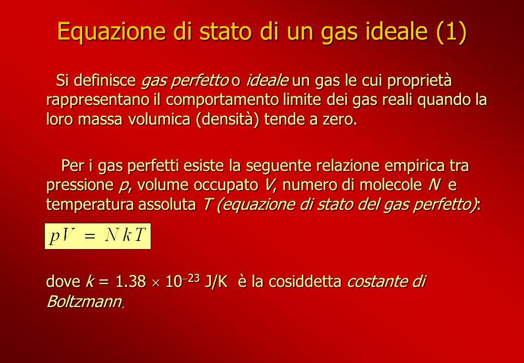 Equazione di stato di un gas ideale (1) Si definisce gas perfetto o ideale un gas le cui proprietà rappresentano il comportamento limite dei gas reali