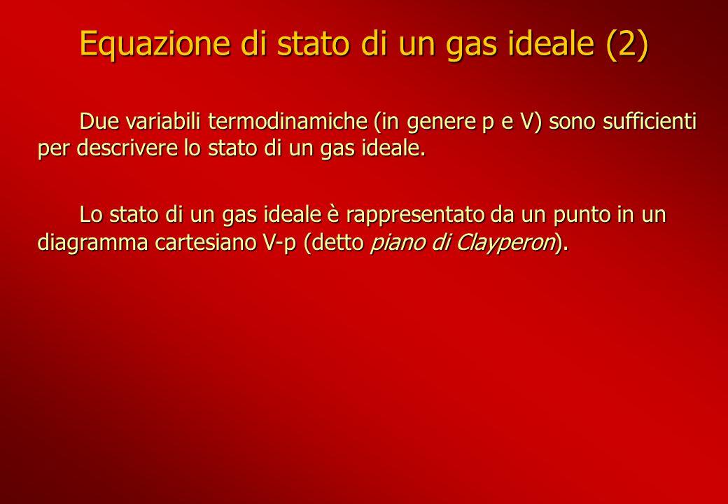 Equazione di stato di un gas ideale (2) Due variabili termodinamiche (in genere p e V) sono sufficienti per descrivere lo stato di un gas ideale. Due