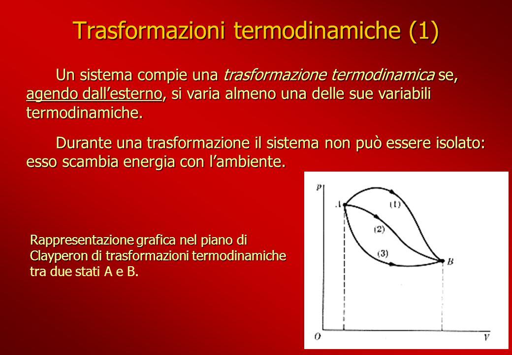Trasformazioni termodinamiche (1) Un sistema compie una trasformazione termodinamica se, agendo dallesterno, si varia almeno una delle sue variabili t