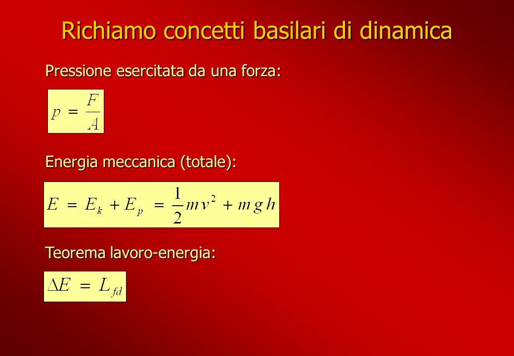 Richiamo concetti basilari di dinamica Pressione esercitata da una forza: Energia meccanica (totale): Teorema lavoro-energia:
