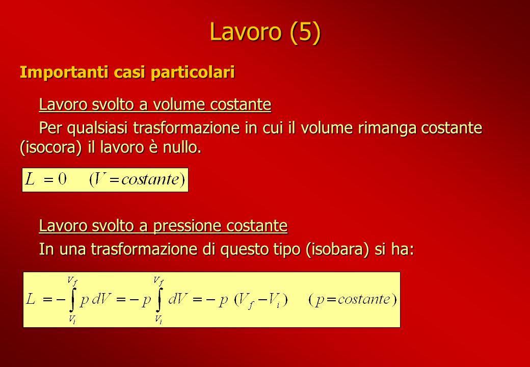 Lavoro (5) Lavoro svolto a volume costante Per qualsiasi trasformazione in cui il volume rimanga costante (isocora) il lavoro è nullo. Lavoro svolto a