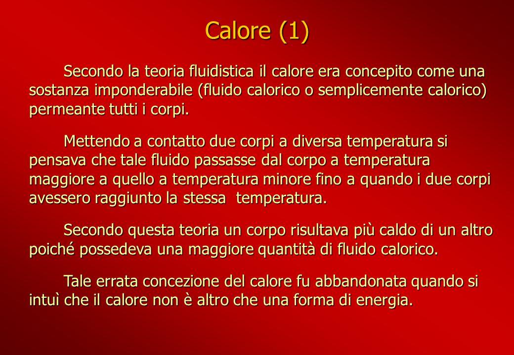 Calore (1) Secondo la teoria fluidistica il calore era concepito come una sostanza imponderabile (fluido calorico o semplicemente calorico) permeante