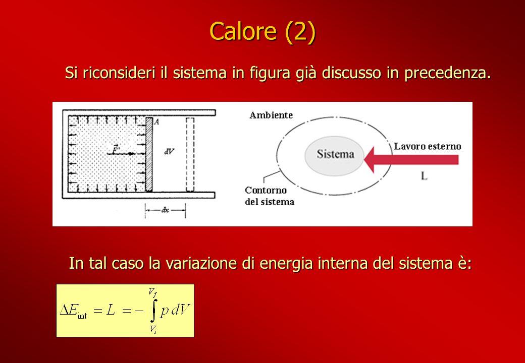 Calore (2) Si riconsideri il sistema in figura già discusso in precedenza. Si riconsideri il sistema in figura già discusso in precedenza. In tal caso