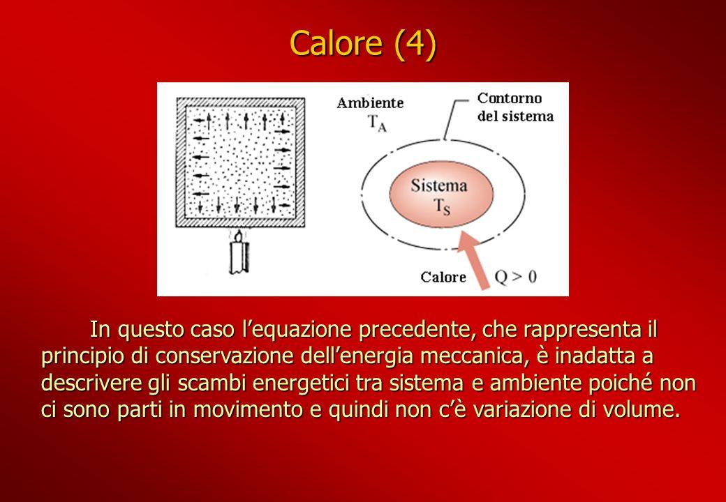Calore (4) In questo caso lequazione precedente, che rappresenta il principio di conservazione dellenergia meccanica, è inadatta a descrivere gli scam