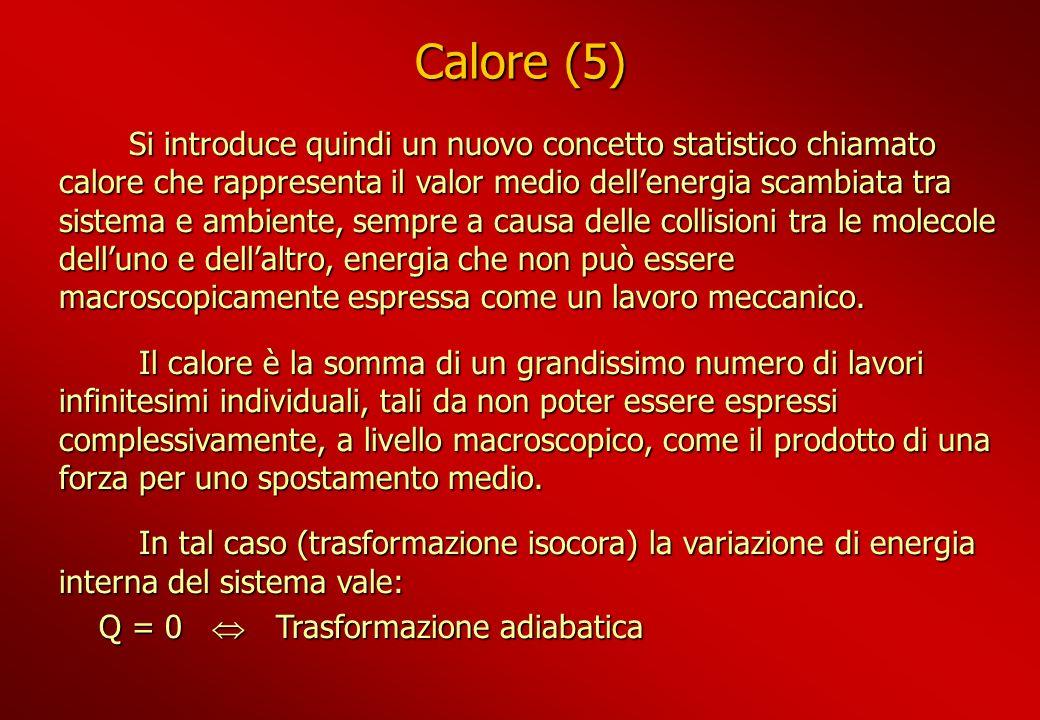 Calore (5) Si introduce quindi un nuovo concetto statistico chiamato calore che rappresenta il valor medio dellenergia scambiata tra sistema e ambient