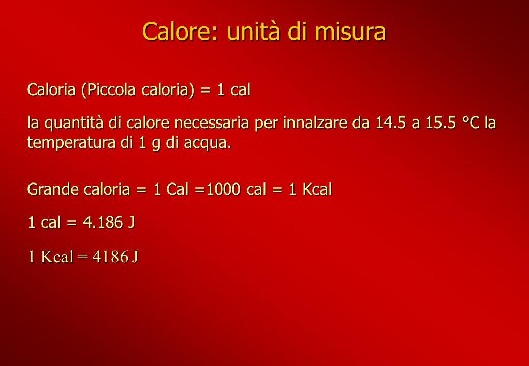 Calore: unità di misura Caloria (Piccola caloria) = 1 cal la quantità di calore necessaria per innalzare da 14.5 a 15.5 °C la temperatura di 1 g di ac
