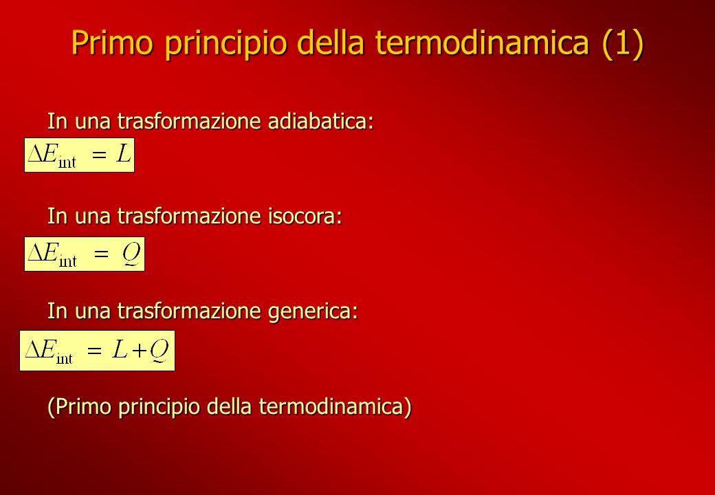 Primo principio della termodinamica (1) In una trasformazione adiabatica: In una trasformazione isocora: In una trasformazione generica: (Primo princi