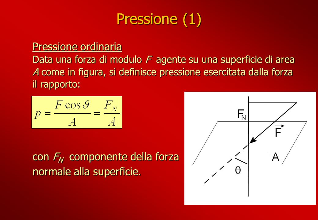 Pressione (1) Pressione ordinaria Data una forza di modulo F agente su una superficie di area A come in figura, si definisce pressione esercitata dall