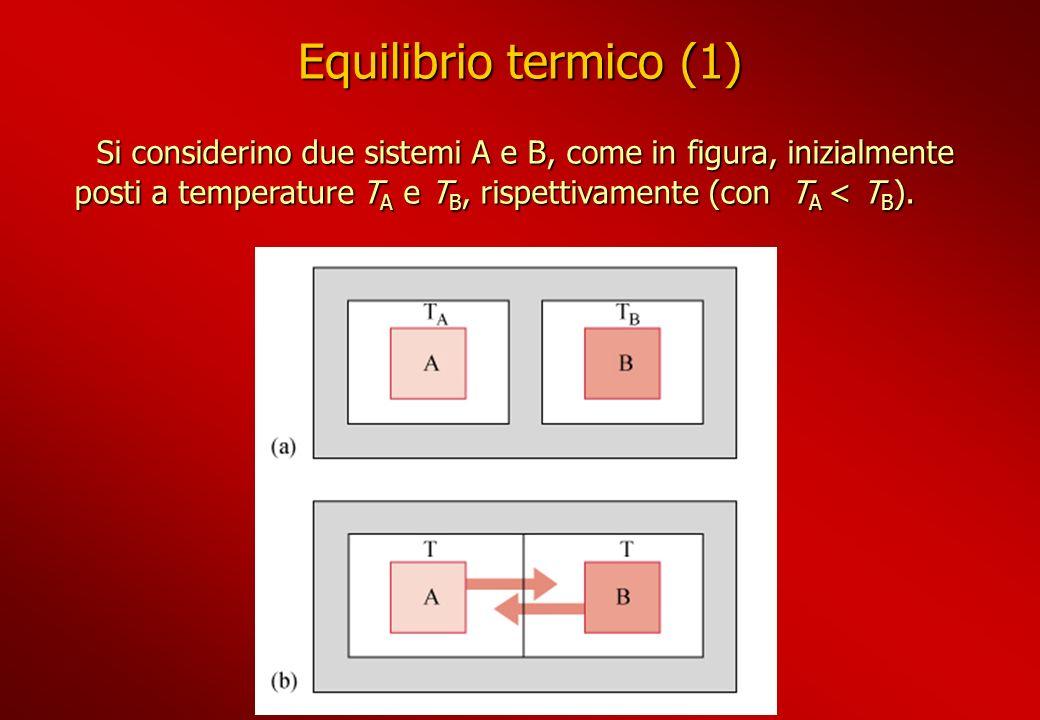 Equilibrio termico (1) Si considerino due sistemi A e B, come in figura, inizialmente posti a temperature T A e T B, rispettivamente (con T A < T B ).