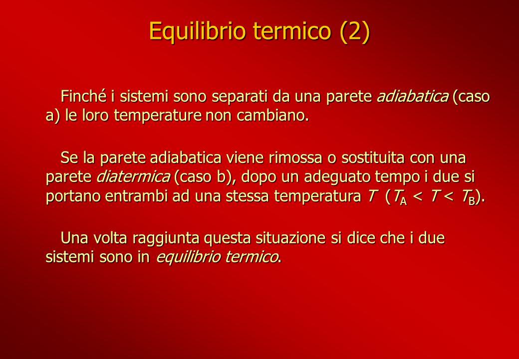 Equilibrio termico (2) Finché i sistemi sono separati da una parete adiabatica (caso a) le loro temperature non cambiano. Finché i sistemi sono separa