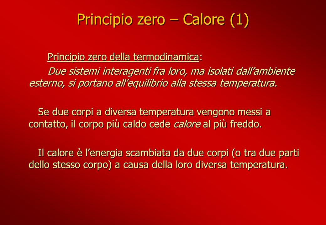 Principio zero – Calore (1) Principio zero della termodinamica: Principio zero della termodinamica: Due sistemi interagenti fra loro, ma isolati dalla